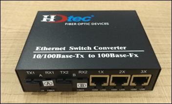 Converter Kết hợp HDTEC 2 cổng Quang + 3 cổng RJ45 100Mbps