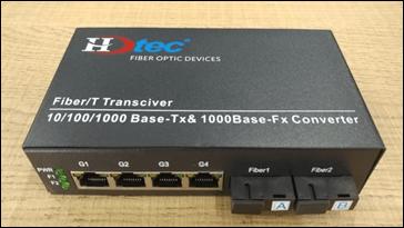 Bộ chuyển đổi Quang HDTEC Converter Quang 4 cổng RJ45 100Mbps